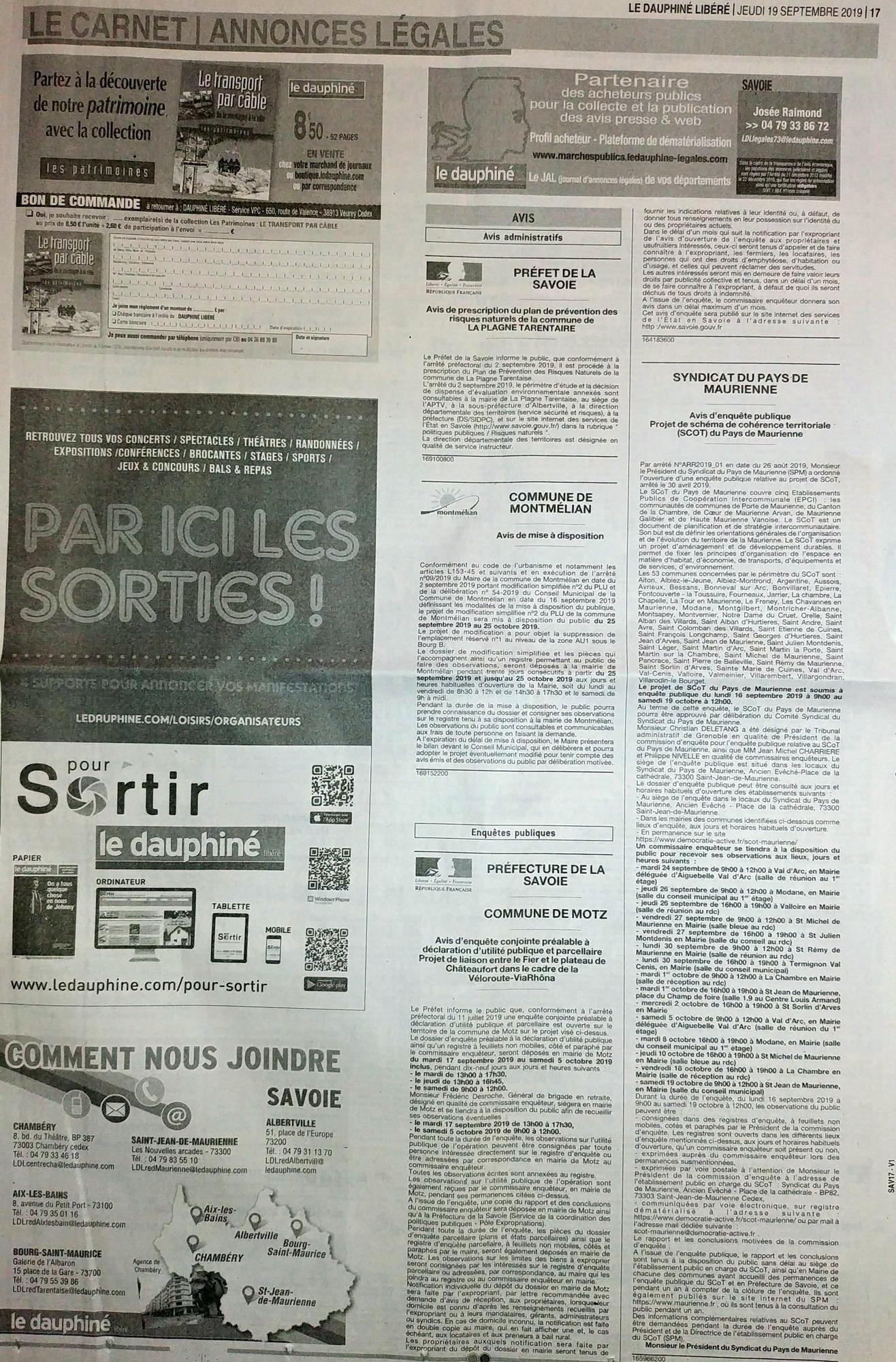 Cliquez pour plus d'infos «Parution presse de l'avis d'enquête publique (Le Dauphiné 19/09/2019)»